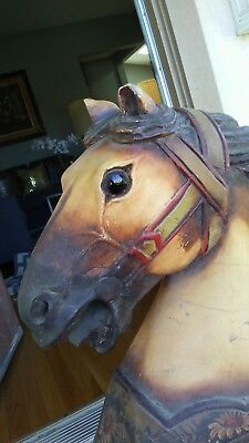 VINTAGE CARVED WOOD HORSE heavy solid racing glass eyes