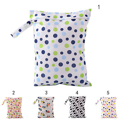 Baby Protable Nappy Washable Nappy Wet Dry Cloth Zipper Waterproof Diaper Bag SE
