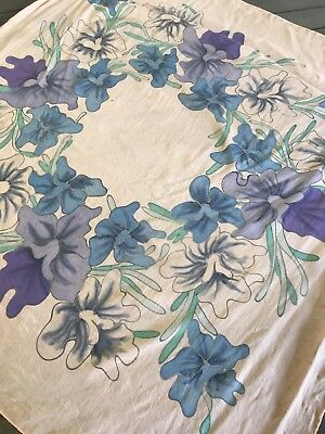 Pretty Vintage Silk Scarf Apricot Colour with Painted Purple & Blue Flowers