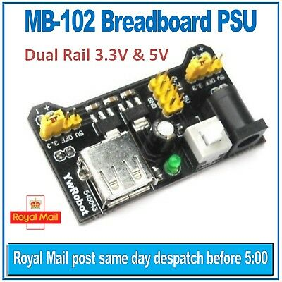 MB-102 Breadboard Power Supply Module (PSU) YwRobot. Dual rail 3.3V and 5V
