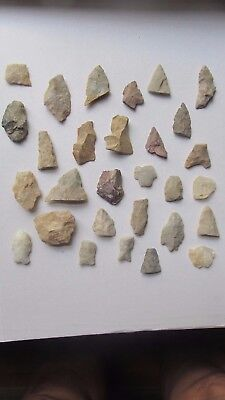29 Ancient Native American Stone Arrowheads, 1920  VIRGINIA COLLECTION, Arrows