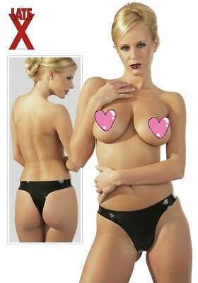0285145 LATEX Panty Slip Donna Nero 100% in Latex Vero Lattice a Triangolo