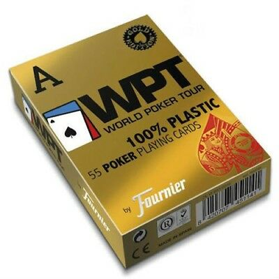 Fournier Wpt Gold Edition World Poker Tour Plastic Playing Cards Deck Red Jumbo