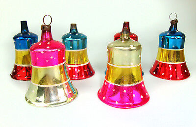 Vintage Glass Christmas Ornaments Lot Of 6 Bell Shape Gorgeous Colors