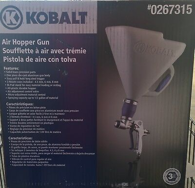 New Kobalt 3-ft Gravity Hopper Gun Solid-Brass Bi-Pod Durable Sprayer 3 nozzle
