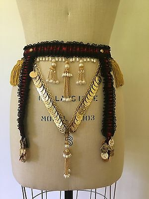Vtg Frilly Simone Rhumba Garter Belt w/ Hand Sewn Belly Dancing Embellishments