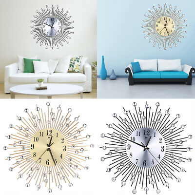 Luxury Large Aluminium Dial Sun Spangle Art Wall Clocks Room Wall House Decor