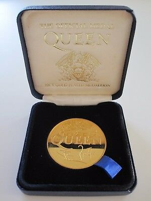 Queen  :  Official Medal - 22Ct Gold Plated Medallion - Freddie Mercury 1992
