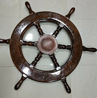 Nautical Vintage Marine  Wooden & Brass Well 100% Original Very Nice Condition