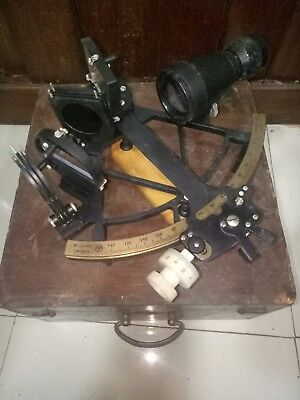 Vintage Marine Brass Sextant W.lodolph Made In Germany With Wooden Box