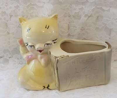 AMERICAN BISQUE CAT YELLOW with  PIGS STORYBOOK PLANTER 1950'S