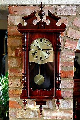 Vintage C. Wood & Son Wall Hanging Wood Cased 31 Day Clock With Chimes