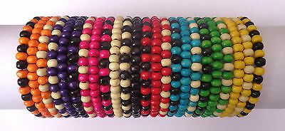 Job Lot X 24 Mens Wooden Tribal / Surfer Elastic Bead Bracelets - NEW