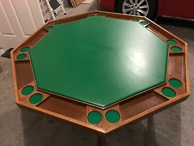 """Octagonal Oak Kestell Large 57"""" Folding Poker Table (seats 8) Excellent with top"""