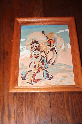 """Vintage 14"""" x 11"""" Framed Paint By Numbers Horse Desert Soldier Scene"""