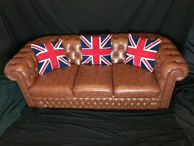 1 Handmade Leather Chesterfield Style Clarendon Tan Brown 3 Seater Sofa Settee