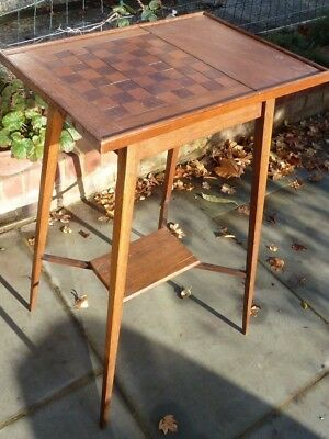 Side table with inlaid chess board patterned top