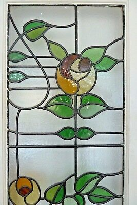 Leaded stained glass panels, Art Nouveau, fitted to two internal doors