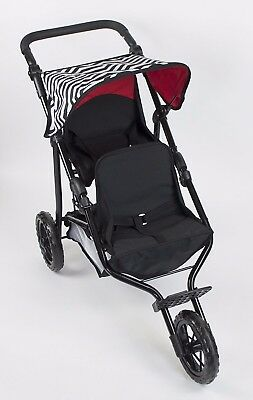 """Deluxe Double Jogger Doll Twin Stroller Adjustable Handle For 18"""" Doll"""