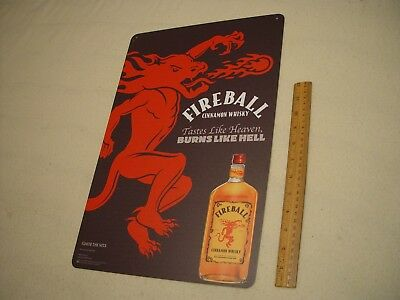 "Unused FIREBALL CINNAMON WHISKEY thick metal tin tacker sign 12"" X 18"" NEW!"