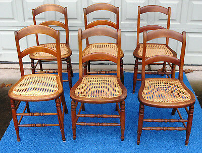 6 Vintage Wood ☆ Cane Seat ☆ Side Chairs ☆ Ladder Back Some recaned Unknown Age