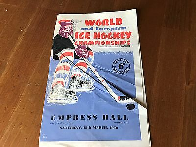 1950 World & European Ice Hockey Championships Programme Empress Hall Earls Cour
