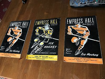 3  ,1950 Ice Hockey National League Programme Empress Hall Earls Court Rangers