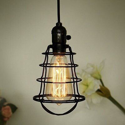 COOLWEST Mini Vintage Edison Hanging Caged Pendant Light Fixture,Adjustable