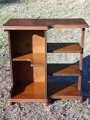Vintage Antique Walnut Art Deco End Side Table Night Stand Book Shelf 1930's
