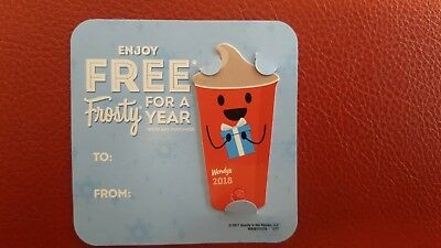 2018 Wendy's FREE FROSTY EVERY VISIT keytag card wendys key tag fob Free Shippin
