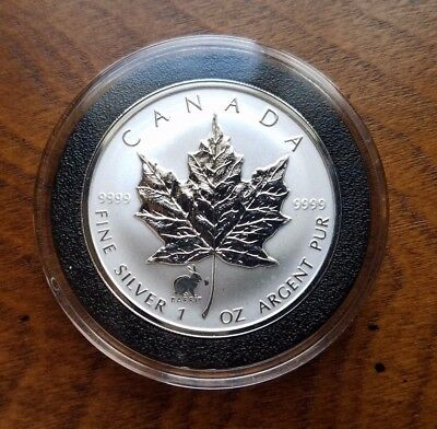 1999 Canada Canadian Silver Maple Leaf Lunar Rabbit Privy .9999 1 oz AirTite