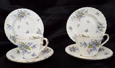 Vintage Tuscan Forget Me Not Trios - Tea cup, Saucer and Tea Plate x 2