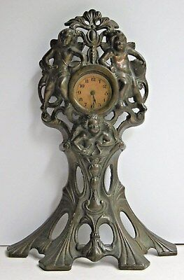 Art Nouveau Metal Mantel Clock Surround Cherubs Musicians Rd 645675