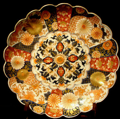 "12 5/8"" MARKED Koransha JAPANESE MEIJI PERIOD IMARI SCALLOPED PLATE"