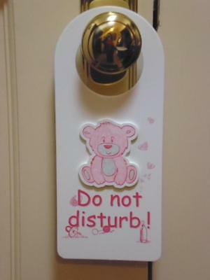 """baby Girl Pink Bear With The Words Do Not Disturb Door Hanger/sign"""