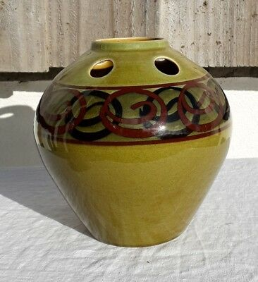 Brixham Pottery Large Green Bud Vase with Adstact Decoration Mid Century devon