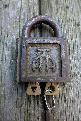 Vintage Large Padlock With Two keys, Working Order Unique Shape Heavy Russia 304