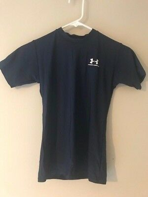 22f4fbf45 BOYS UNDER ARMOUR Compression Shirt Short Sleeves Black Youth Large ...