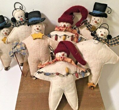 New Huge Lot Of 7 Primitive/country Snowman Ornaments-Different Styles-Handmade!
