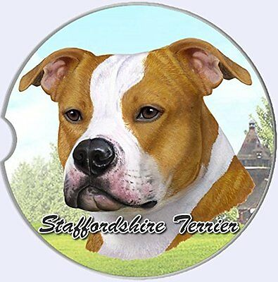 Staffordshire Terrier Car Coaster Absorbent Keep Cup Holder Dry Stoneware New