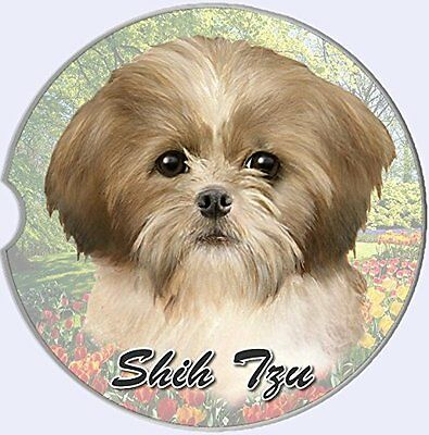 Shih Tzu Car Coaster Absorbent Keep Cup Holder Dry Stoneware New Dogs Tan White