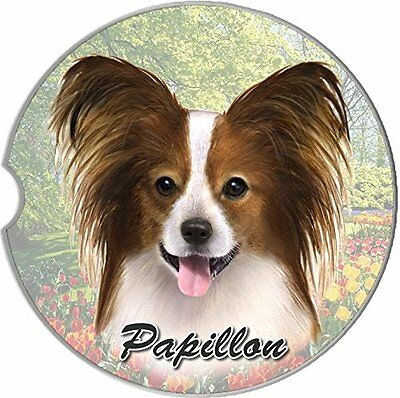 Papillon Car Coaster Absorbent Keep Cup Holder Dry Stoneware New Dogs Pets