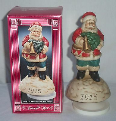 Action Porcelain Revolving Musical 1915 Santa Claus Figurine Music Box Wind Up