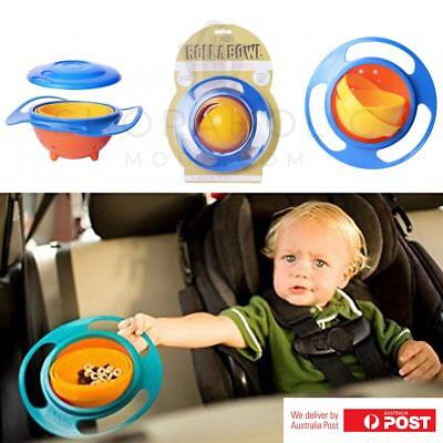 Spill Resistant Rotating Gyro Balance Bowl with Lid No Spill Bowl