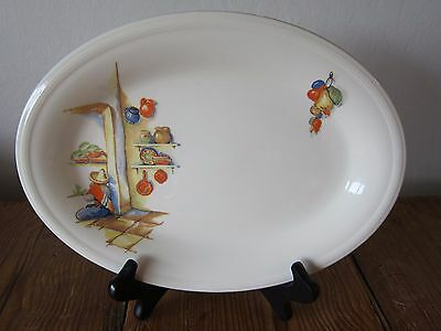 VINTAGE EDWIN M. KNOWLES OVAL PLATTER WITH MEXICAN DECORATION - 11.5 in x 8.5 in