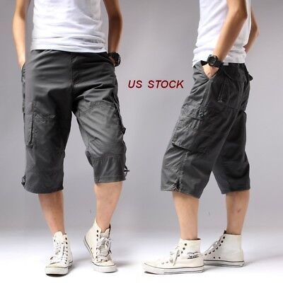 US Mens Capri Short Pants Baggy Cargo Rope Long Shorts Beach/Work Pants Cotton