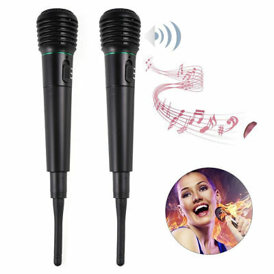 2Pcs 2in1 Pro Wireless Cordless Microphone System Handheld Wired Karaoke MIC