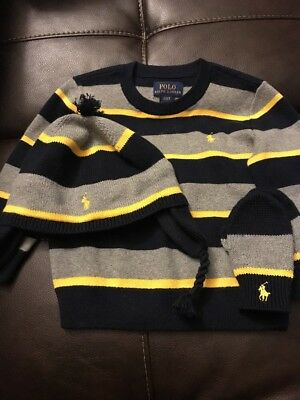 Toddler Boys Polo Ralph Lauren Sweater Navy,Gray,Yellow Size 2t w/Hat & Gloves