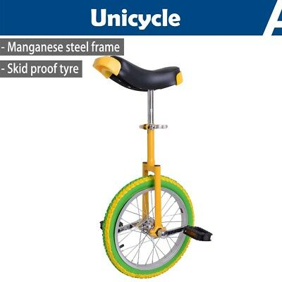 "16"" Wheel Unicycle Uni Cycle Balance Fun Bike Scooter Circus Kids Yellow & Green"