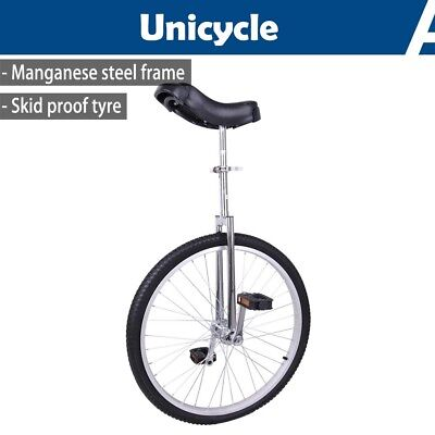 "24"" Wheel Unicycle Uni Cycle Balance Fun Bike Sports Scooter Circus Adult Silver"